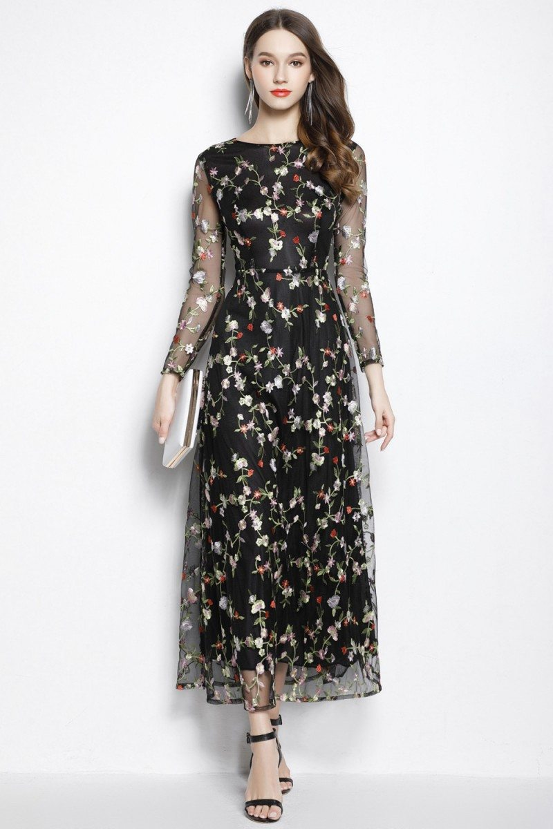 Black Organza Floral Long Party Dress Long Sleeves 95