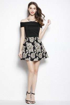 Black Off The Shoulder Fit And Flare Short Dress