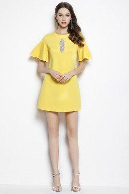 Yellow Short Sleeve Beaded Casual Dress