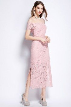 Sheath Lace Off The Shoulder Party Dress