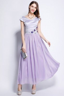 Lavender Satin And Chiffon Cap Sleeve Long Dress