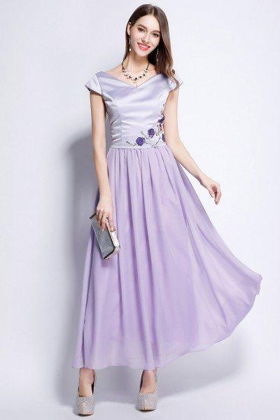 Lavender Satin And Chiffon Cap Sleeve Long Dress