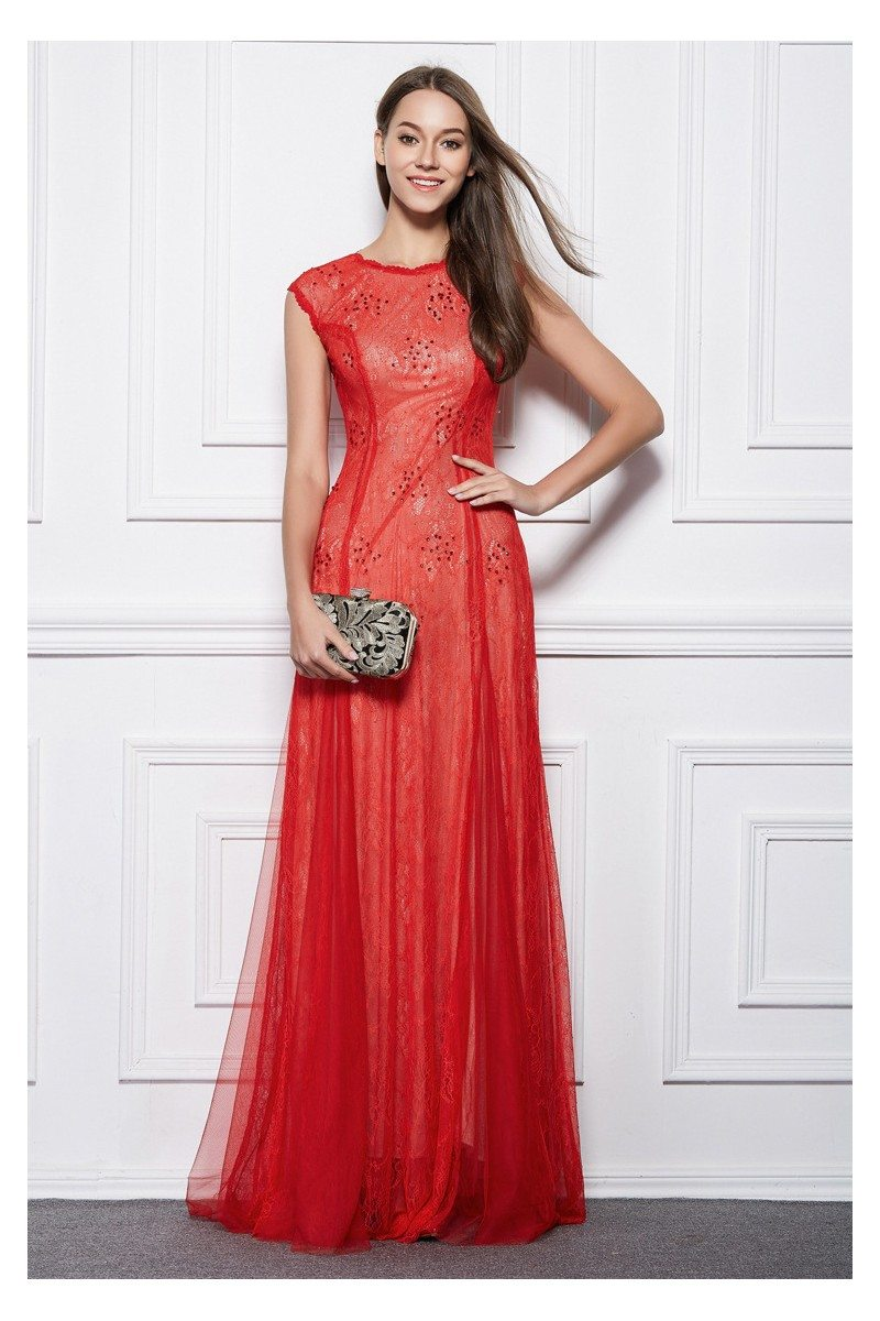 Red Lace Tulle Beaded Long Formal Gown - $88 #CK493 - SheProm.com