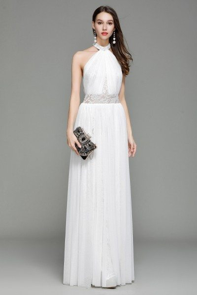 White Lace Long Halter Backless Evening Dress