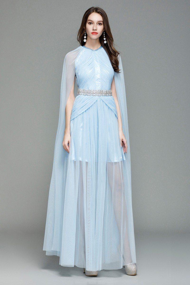 Celebrity Blue Cape Style Long Formal Dress 124 Ck7151