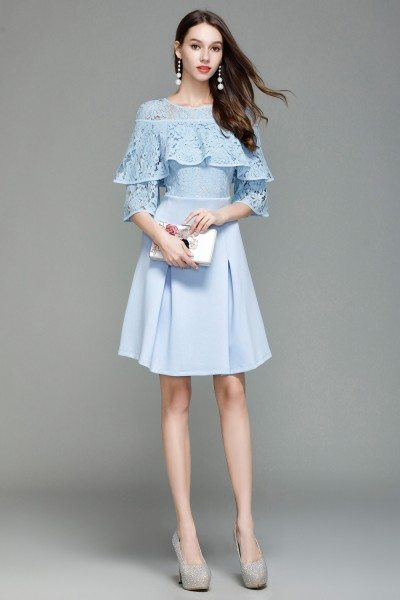 Blue Lace Ruffles Short Dress
