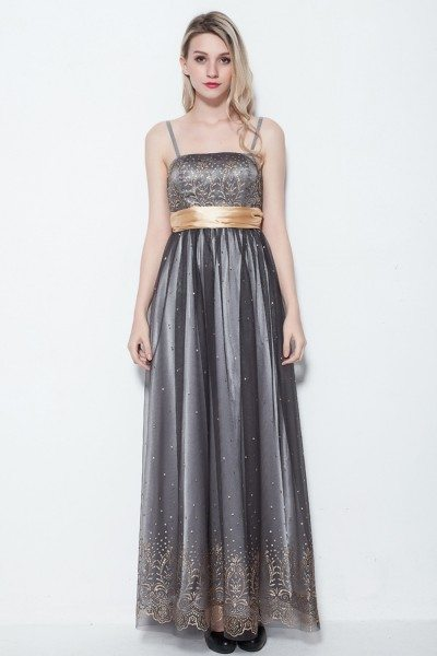 Embroidery Tulle Long Formal Dress With A Sash