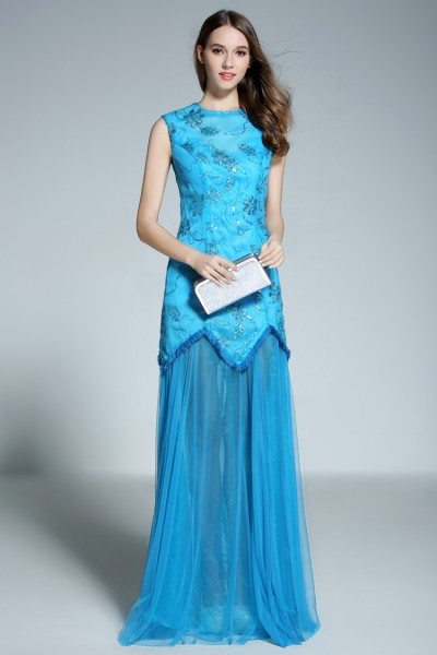 Blue High Neck Tulle Long Prom Dress