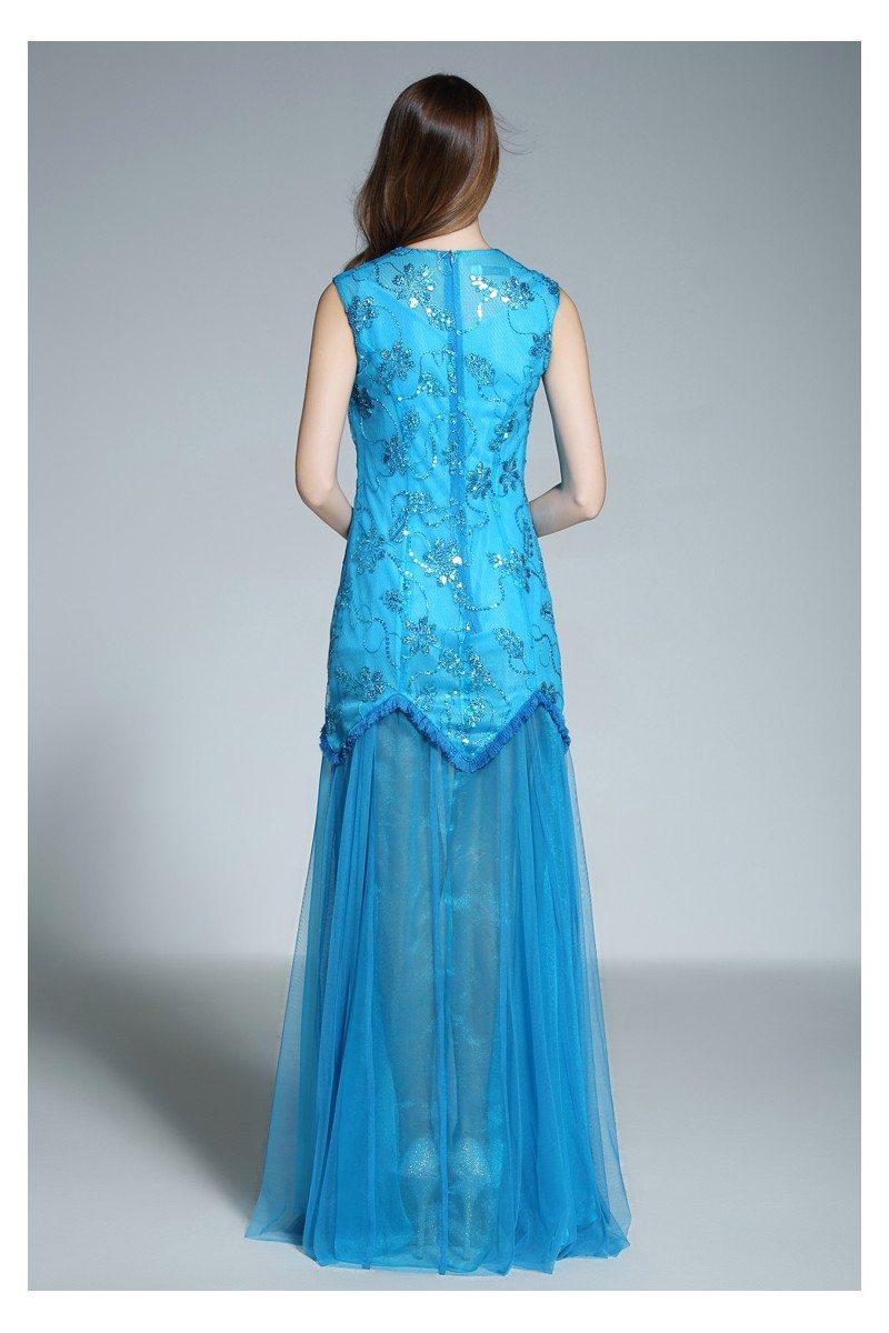 Blue High Neck Tulle Long Prom Dress - $87 #CK582 - SheProm.com