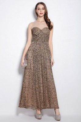 Leopard Illusion Neckline Maxi Dress
