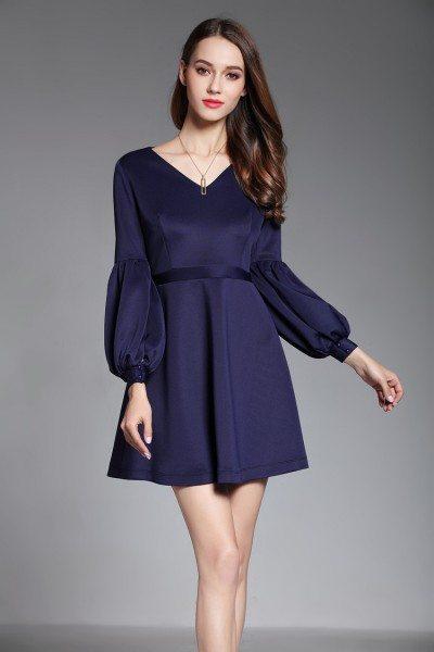 Navy Blue Bubble Sleeve Short Dress