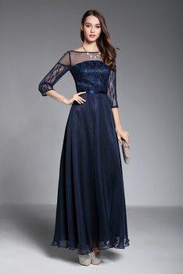 Navy Blue Sheer Sleeves Long Formal Dress