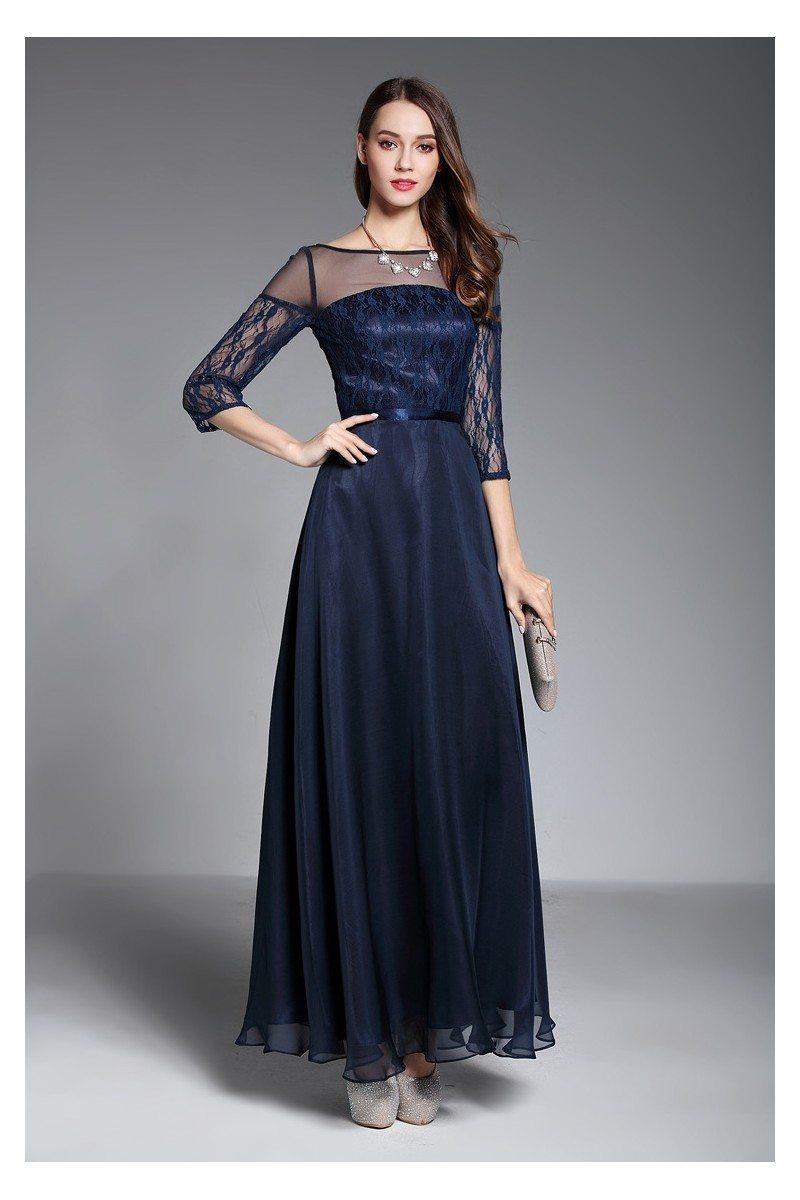 Navy Blue Sheer Sleeves Long Formal Dress - $95 #CK624 - SheProm.com