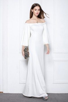 White Off The Shoulder Long Formal Dress With Butterfly Sleeves
