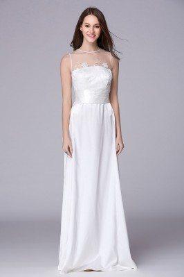 Sleeveless Pure White Long Evening Dress