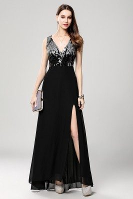 Black Sequin V-neck Long...