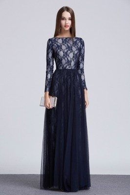 Lace Tulle Long Sleeve Prom Dress