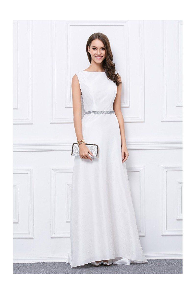 White Taffeta Sequins Formal Evening Dress - $92 #CK459 - SheProm.com