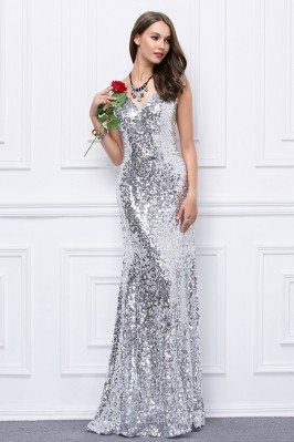 Sparkly Sequin V-neck Long Formal Dress