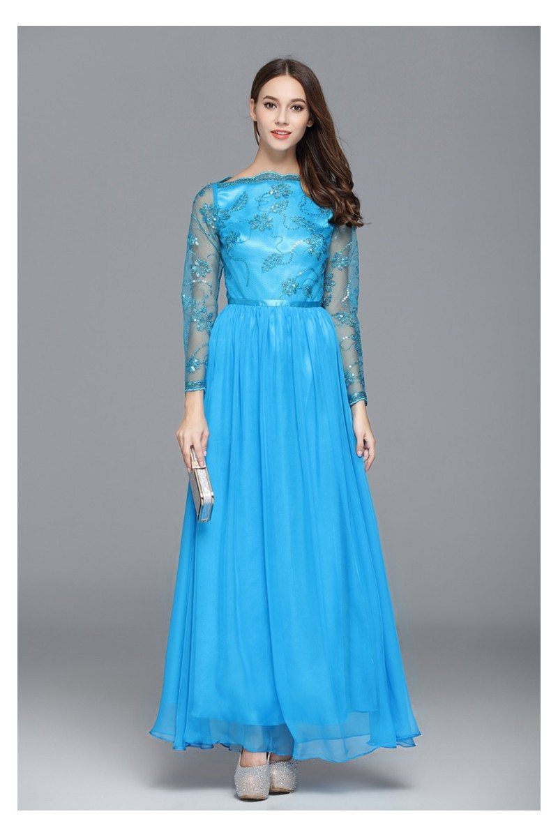 Sequined Long Sleeve Party Dress - $75 #CK577 - SheProm.com