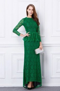 Chic Green Long Lace Sleeve Open Back Evening Dress