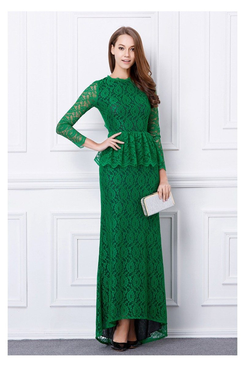 Chic Green Long Lace Sleeve Open Back Evening Dress - $112 #CK486 ...