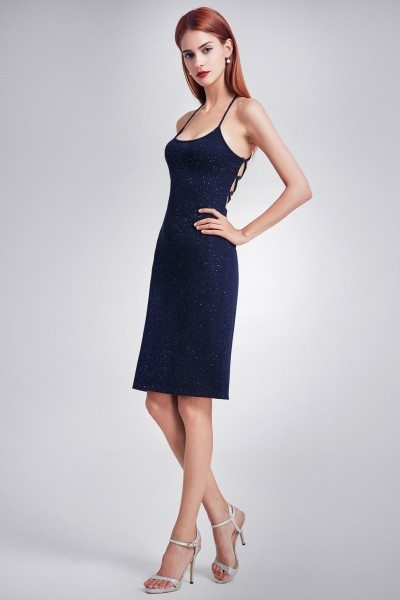 Women's Navy Blue Bling Bodycon Spaghetti Strap Casual Dress