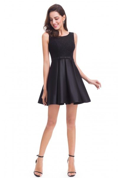 Black Round Neck Fit and Flare Party Dress