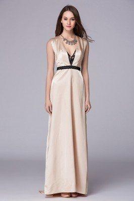 Deep V-neck Open Back Long Satin Dress