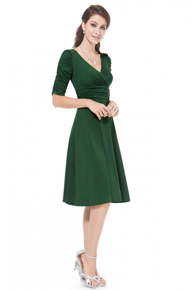 Dark Green V-neck 3/4 Sleeve High Stretch Short Casual ...