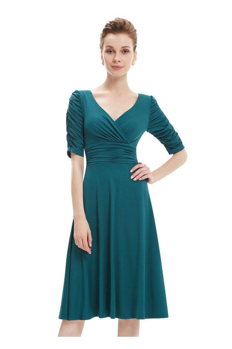 Teal V-neck 3/4 Sleeve High Stretch Short Casual Dress ...