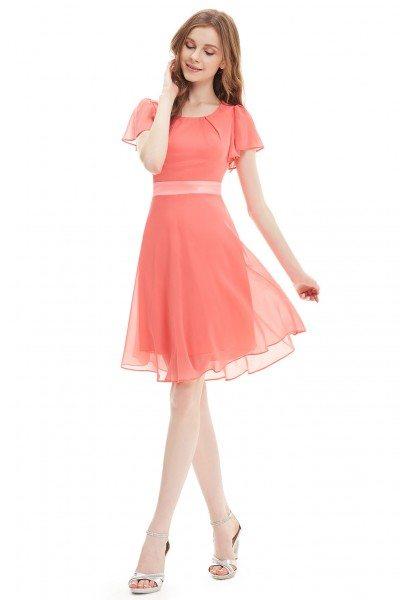 Watermelon Round Neck Chiffon Short Summer Party Dress
