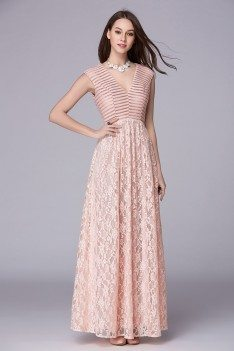 Pink Sequins V-neck Long Lace Party Dress
