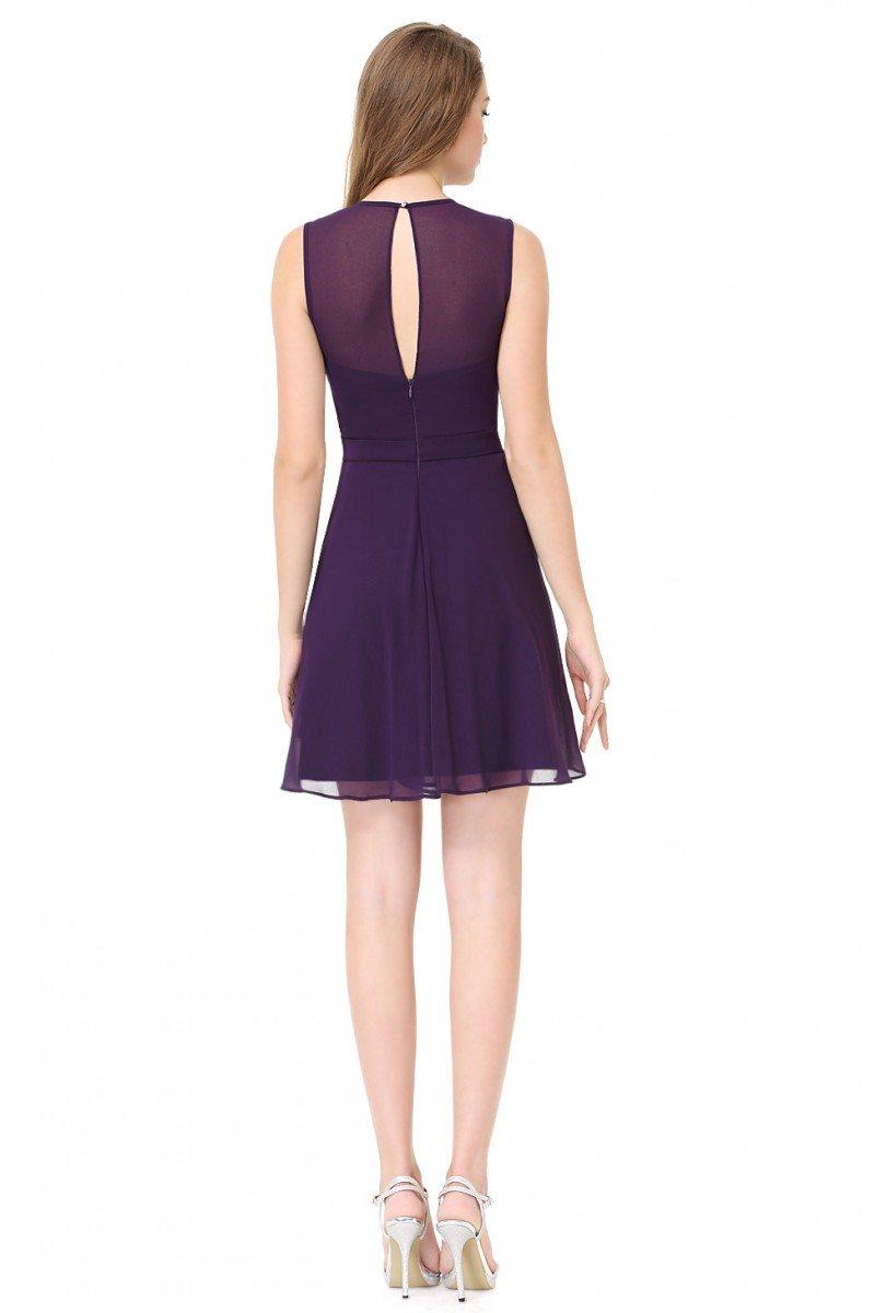 Women's Round Neck Purple Short Casual Party Dress