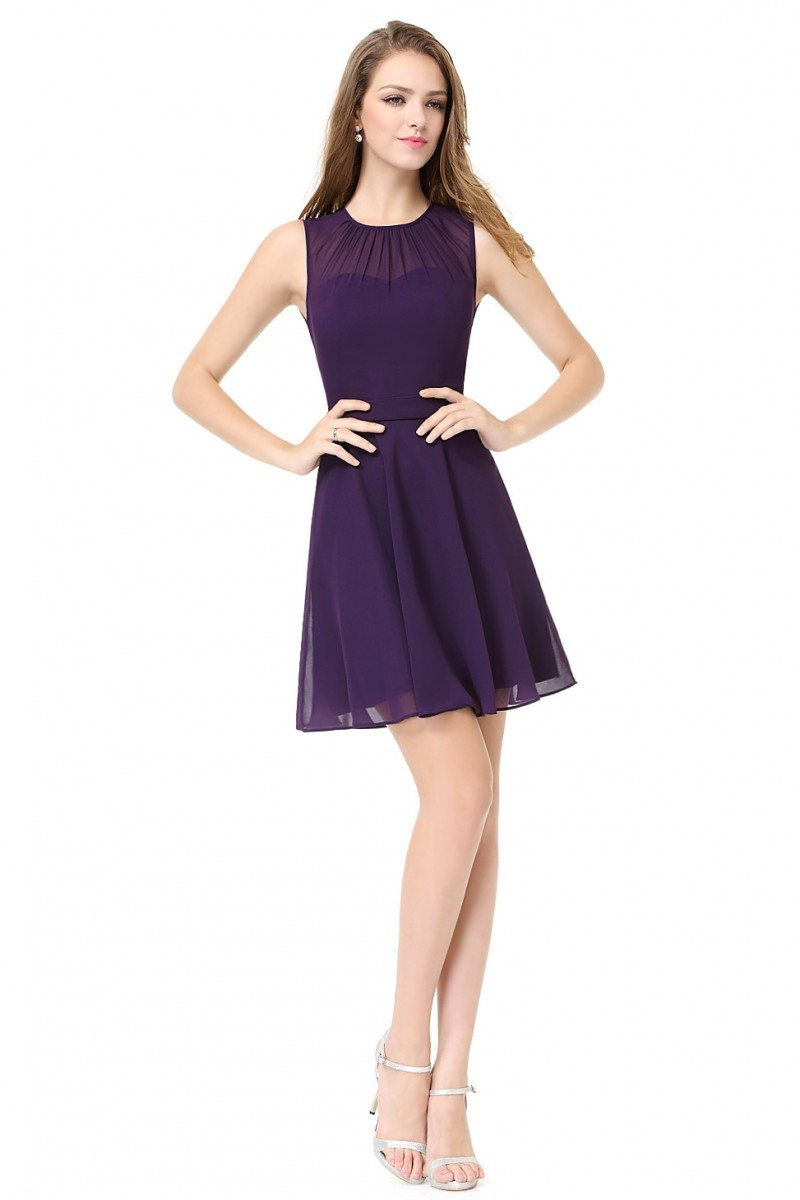 Women S Round Neck Purple Short Casual Party Dress 46