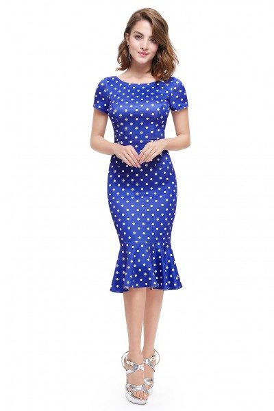 Blue Dotted Short Sleeve Bodycon Dress