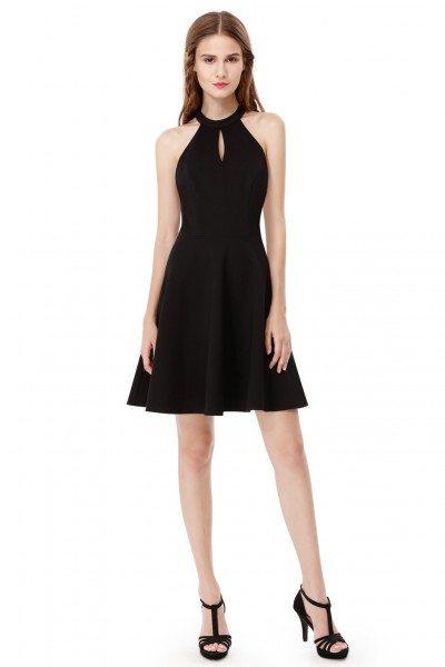 Women's Sexy Black Halter Sleeveless Short Dress