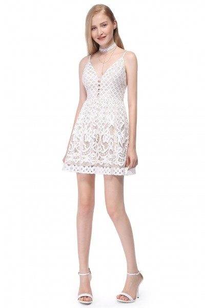Sexy White Lace Short Casual Dress