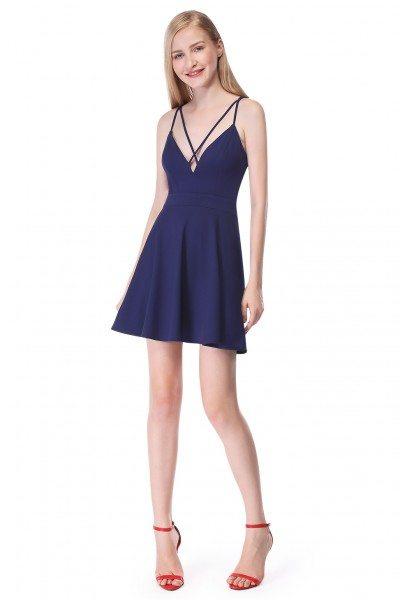 Navy Blue Simple Cross Spaghetti Strap Short Dress
