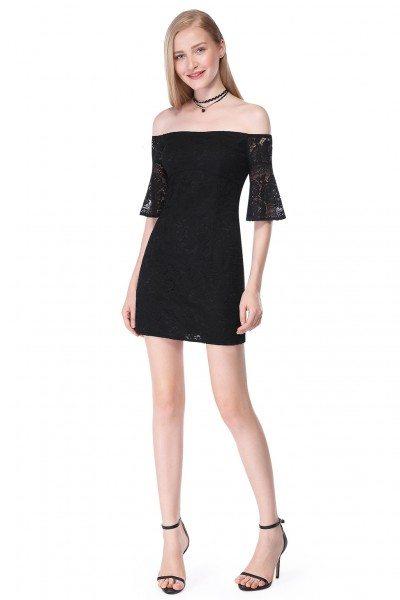 Black Off-The-Shoulder Sleeveless Short Lace Dress