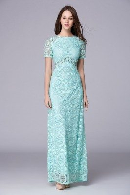 Mint Beaded Lace Short Sleeve Party Dress