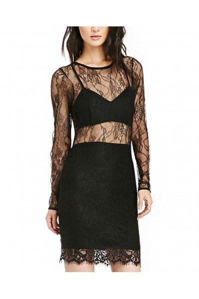 Black Round Neck Long Sleeve Lace Casual Dress