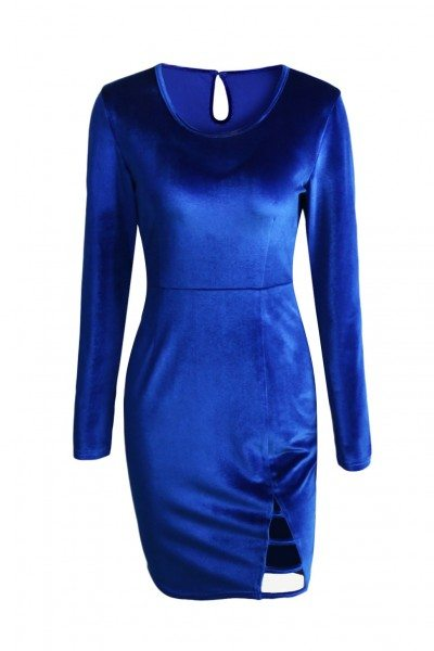 Women's Round Neck Blue Long Sleeve Velvet Dress