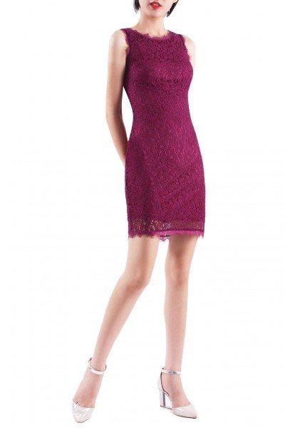 Women's Purple Round Neck Bodycon Short Lace Dress