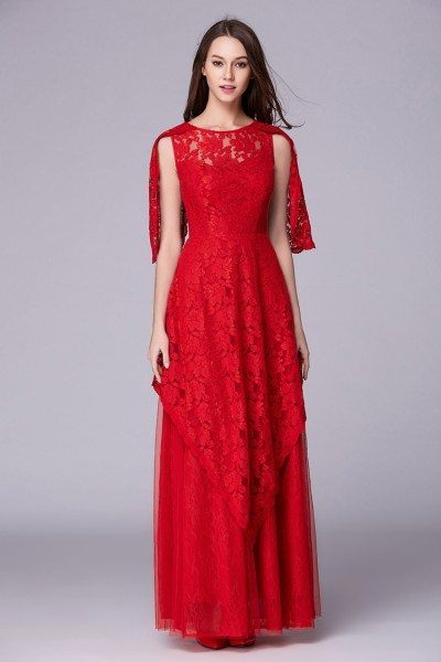 Red Cape Sleeve Lace Tulle Long Dress Formal