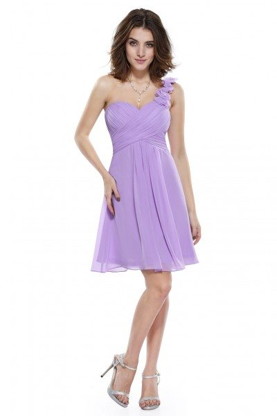 Lavender One Shoulder Flowers Padded Ruffles Bridesmaid Dress