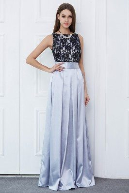 Lace And Satin Two Tone Long Formal Dress