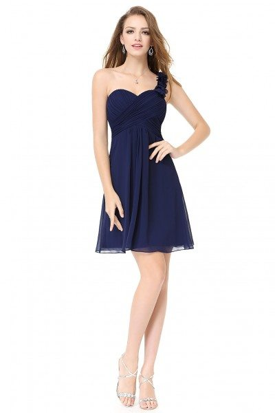Navy Blue One Shoulder Flowers Padded Ruffles Bridesmaid Dress