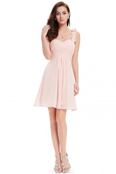 Pink One Shoulder Flowers Padded Ruffles Bridesmaid Dress