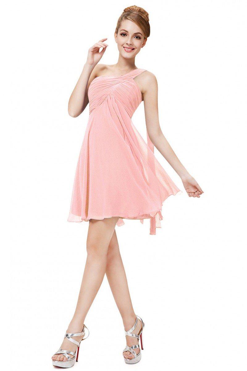 Pink One Shoulder Ruffles Padded Chiffon Short Dress - $45 ...